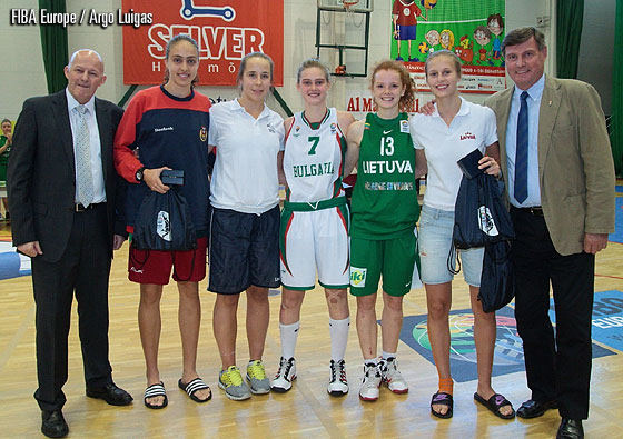 The All Tournament Team of the 2012 U16 European Championship Women Division B: Maria Kostourkova (Portugal), Tuuli Menna (Finland), Borislava Hristova (Bulgaria), Kitija Laksa (Latvia), Dalia Belickaite (Lithuania)